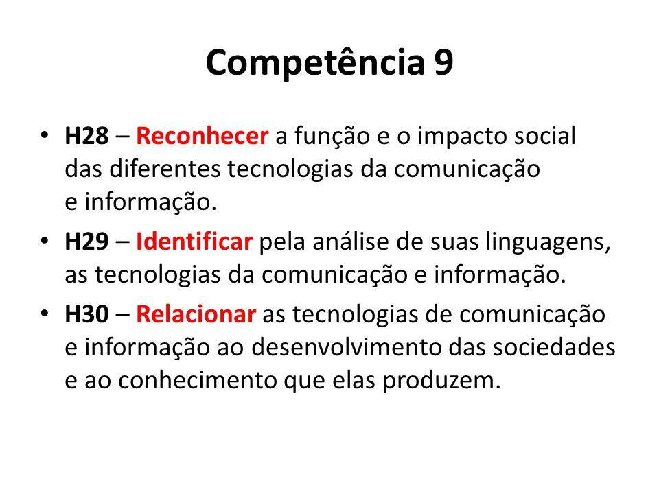 Competência 9 H28 – Reconhecer a função e o impacto social das diferentes tecnologias da comunicação e informação.