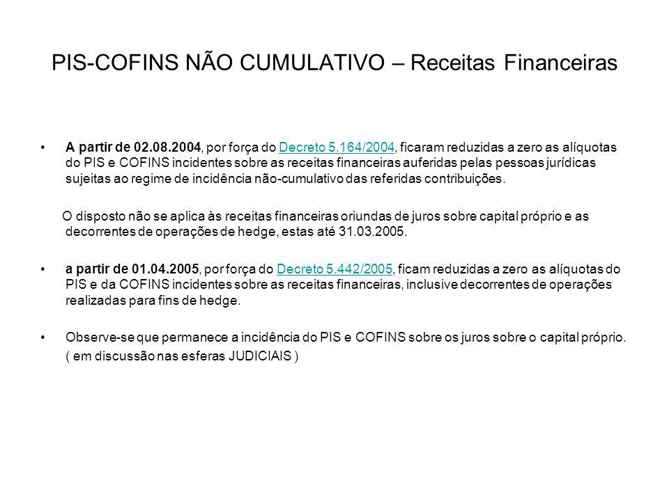 PIS-COFINS NÃO CUMULATIVO – Receitas Financeiras