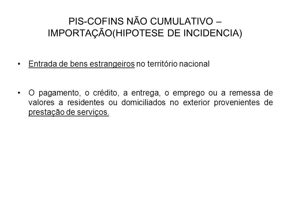 PIS-COFINS NÃO CUMULATIVO – IMPORTAÇÃO(HIPOTESE DE INCIDENCIA)