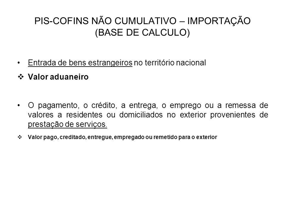 PIS-COFINS NÃO CUMULATIVO – IMPORTAÇÃO (BASE DE CALCULO)
