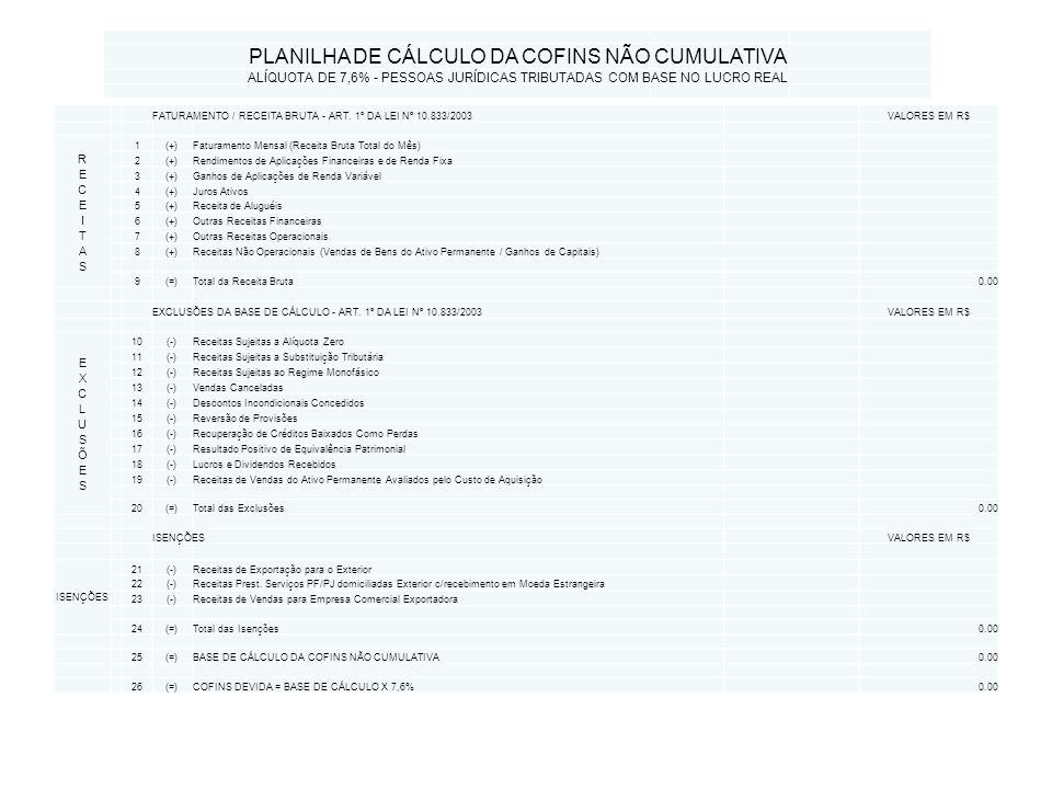 PLANILHA DE CÁLCULO DA COFINS NÃO CUMULATIVA