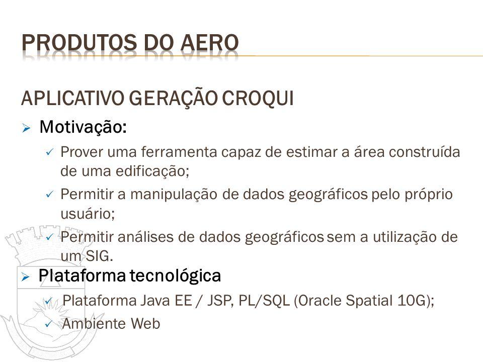 Produtos do aero APLICATIVO GERAÇÃO CROQUI Motivação: