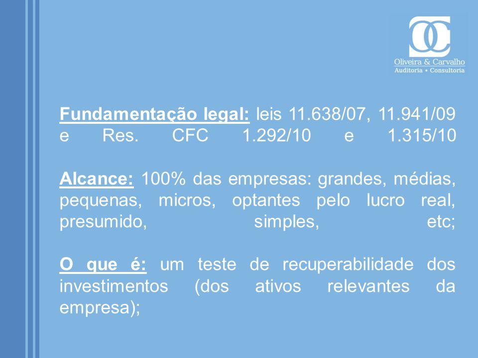 Fundamentação legal: leis 11. 638/07, 11. 941/09 e Res. CFC 1