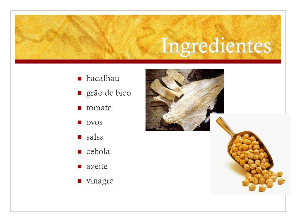 Ingredientes bacalhau grão de bico tomate ovos salsa cebola azeite
