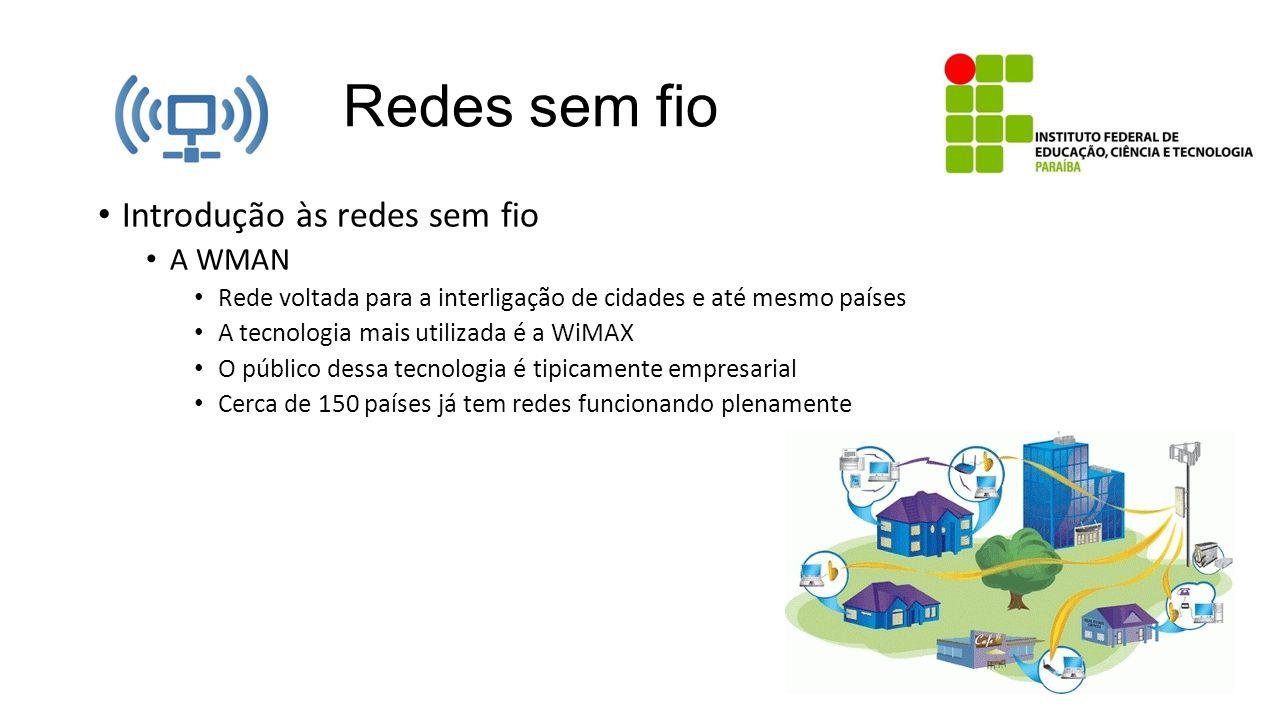 Redes sem fio Introdução às redes sem fio A WMAN