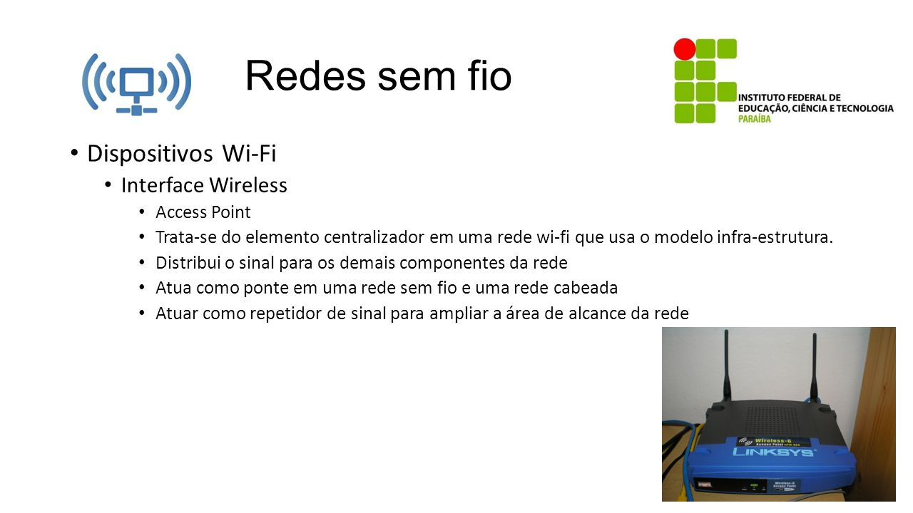 Redes sem fio Dispositivos Wi-Fi Interface Wireless Access Point