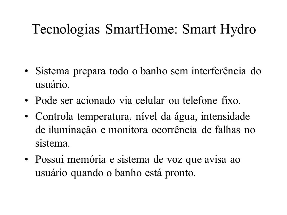 Tecnologias SmartHome: Smart Hydro