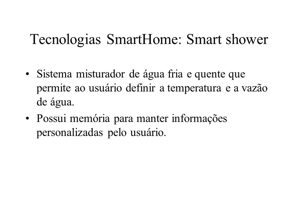 Tecnologias SmartHome: Smart shower