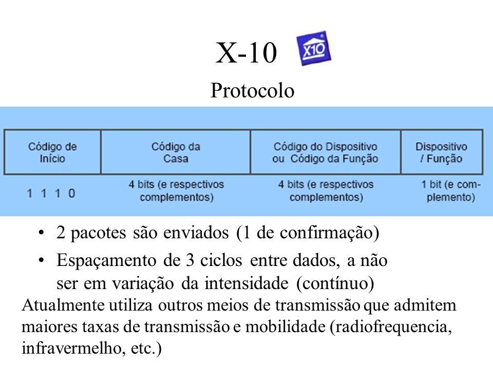 X-10 Protocolo 2 pacotes são enviados (1 de confirmação)