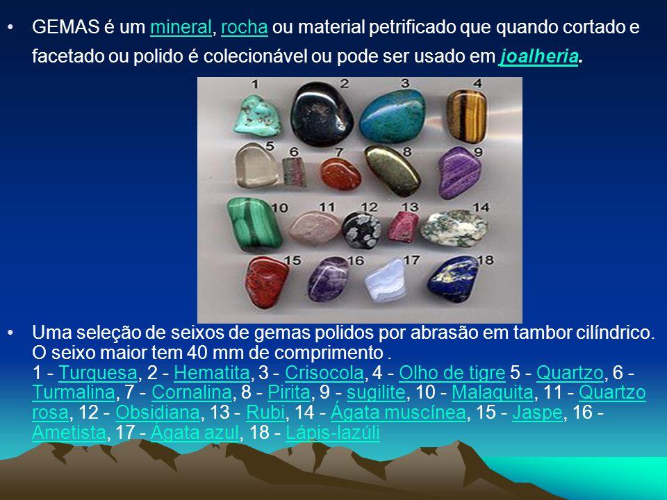 GEMAS é um mineral, rocha ou material petrificado que quando cortado e facetado ou polido é colecionável ou pode ser usado em joalheria.