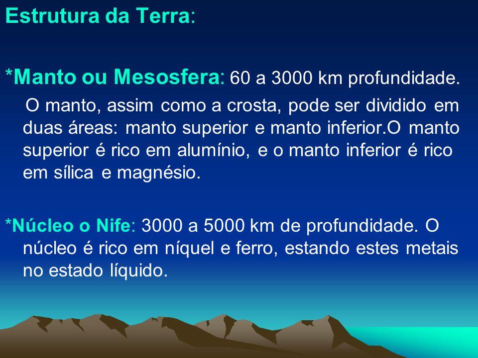 *Manto ou Mesosfera: 60 a 3000 km profundidade.