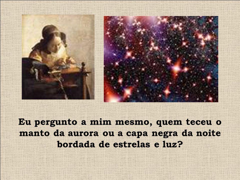 Eu pergunto a mim mesmo, quem teceu o manto da aurora ou a capa negra da noite bordada de estrelas e luz