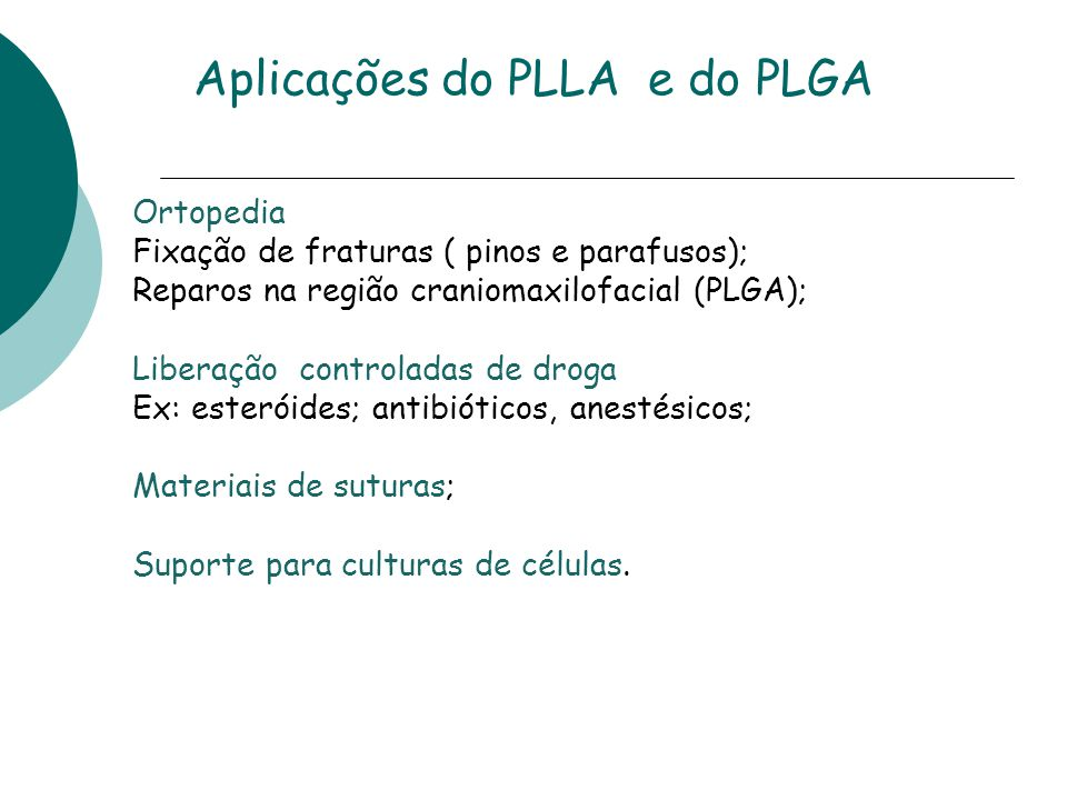Aplicações do PLLA e do PLGA