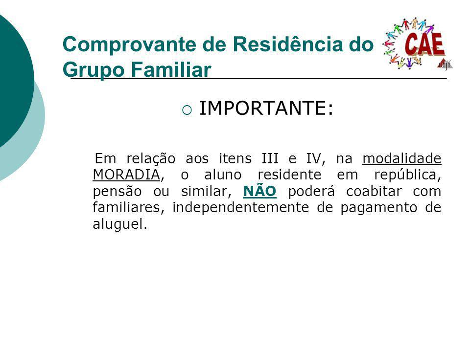 Comprovante de Residência do Grupo Familiar