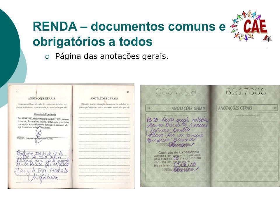 RENDA – documentos comuns e obrigatórios a todos