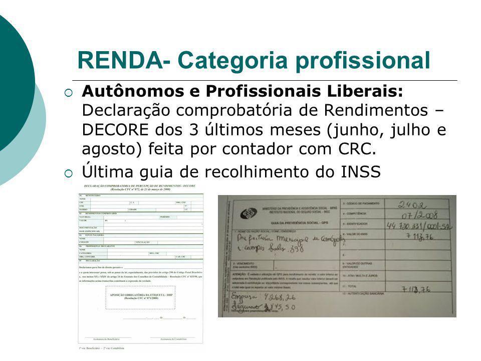 RENDA- Categoria profissional