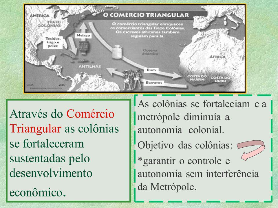 As colônias se fortaleciam e a metrópole diminuía a autonomia colonial.