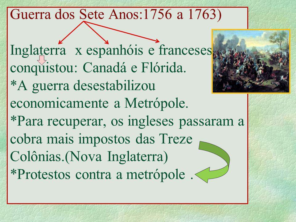 Guerra dos Sete Anos:1756 a 1763) Inglaterra x espanhóis e franceses conquistou: Canadá e Flórida.