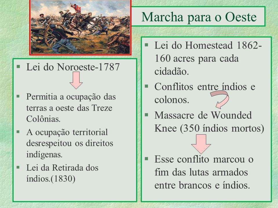 Lei do Homestead 1862- 160 acres para cada cidadão.