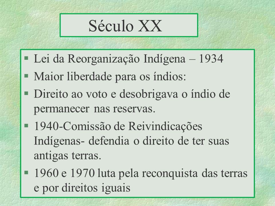 Século XX Lei da Reorganização Indígena – 1934
