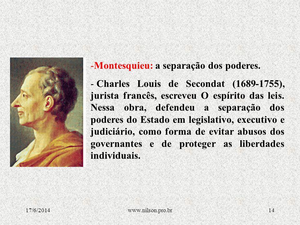 Montesquieu: a separação dos poderes.