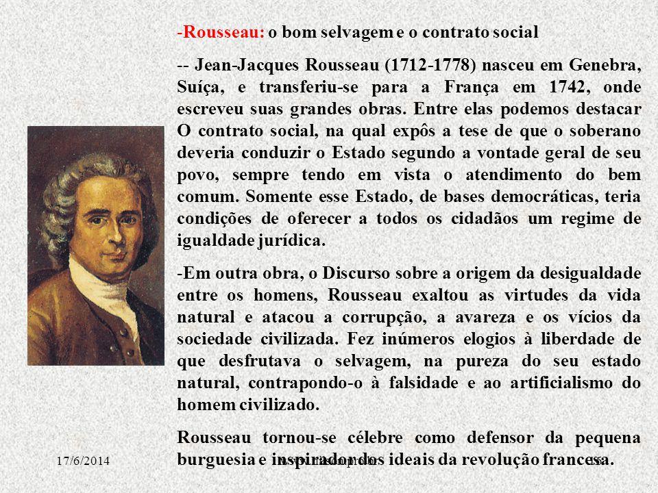Rousseau: o bom selvagem e o contrato social