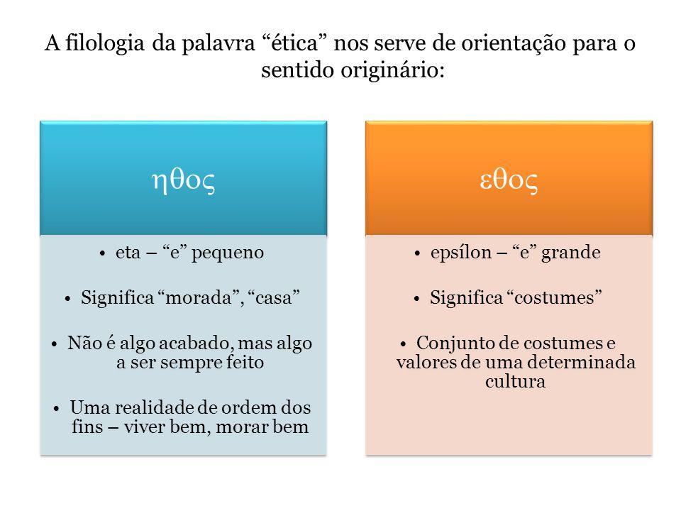A filologia da palavra ética nos serve de orientação para o sentido originário: