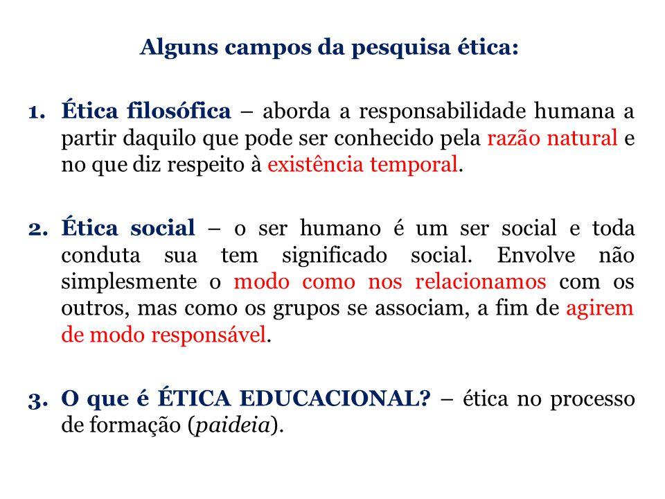 Alguns campos da pesquisa ética:
