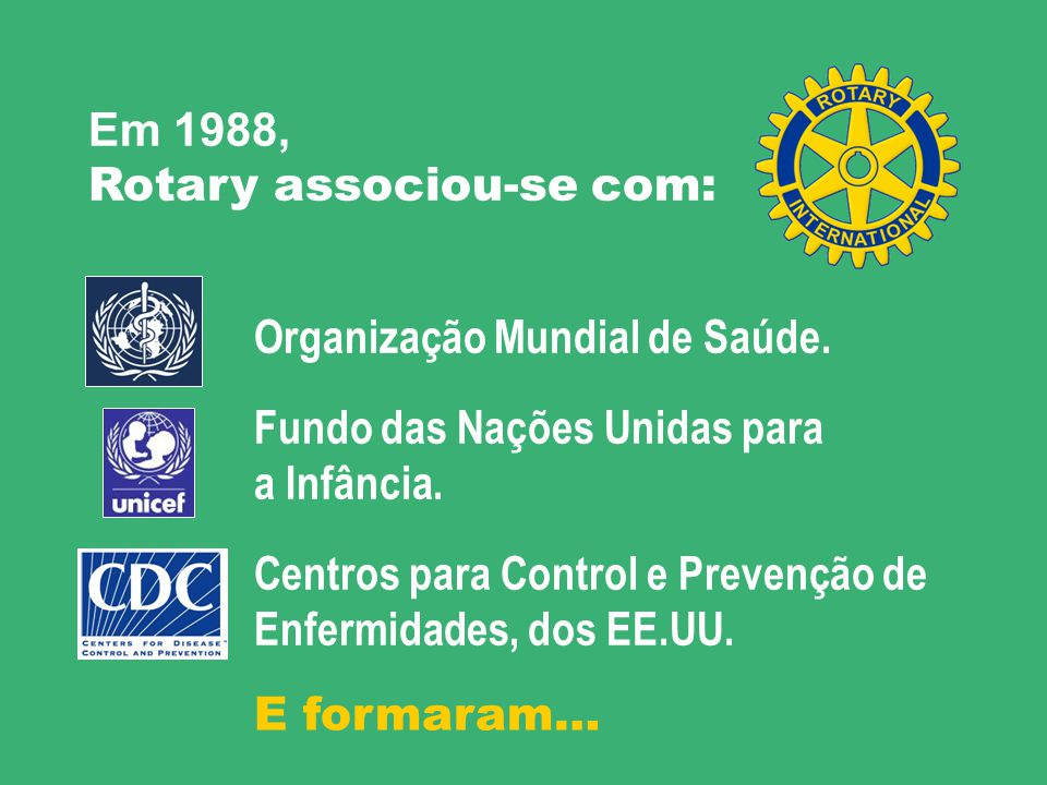 Em 1988, Rotary associou-se com: Organização Mundial de Saúde. Fundo das Nações Unidas para. a Infância.