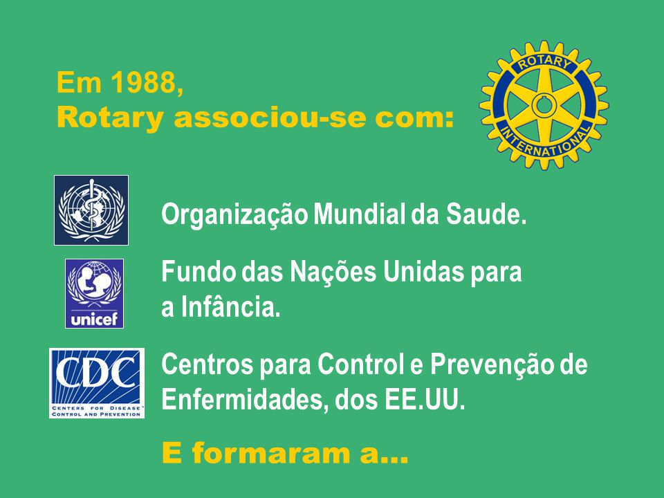 Em 1988, Rotary associou-se com: Organização Mundial da Saude. Fundo das Nações Unidas para. a Infância.