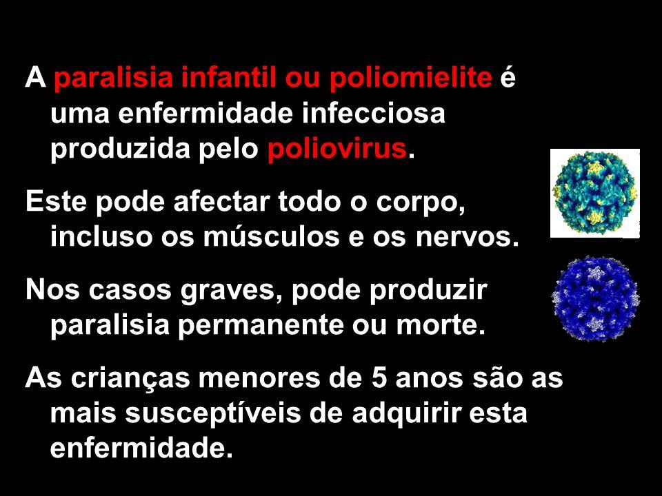 A paralisia infantil ou poliomielite é uma enfermidade infecciosa produzida pelo poliovirus.