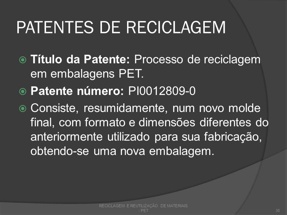 PATENTES DE RECICLAGEM