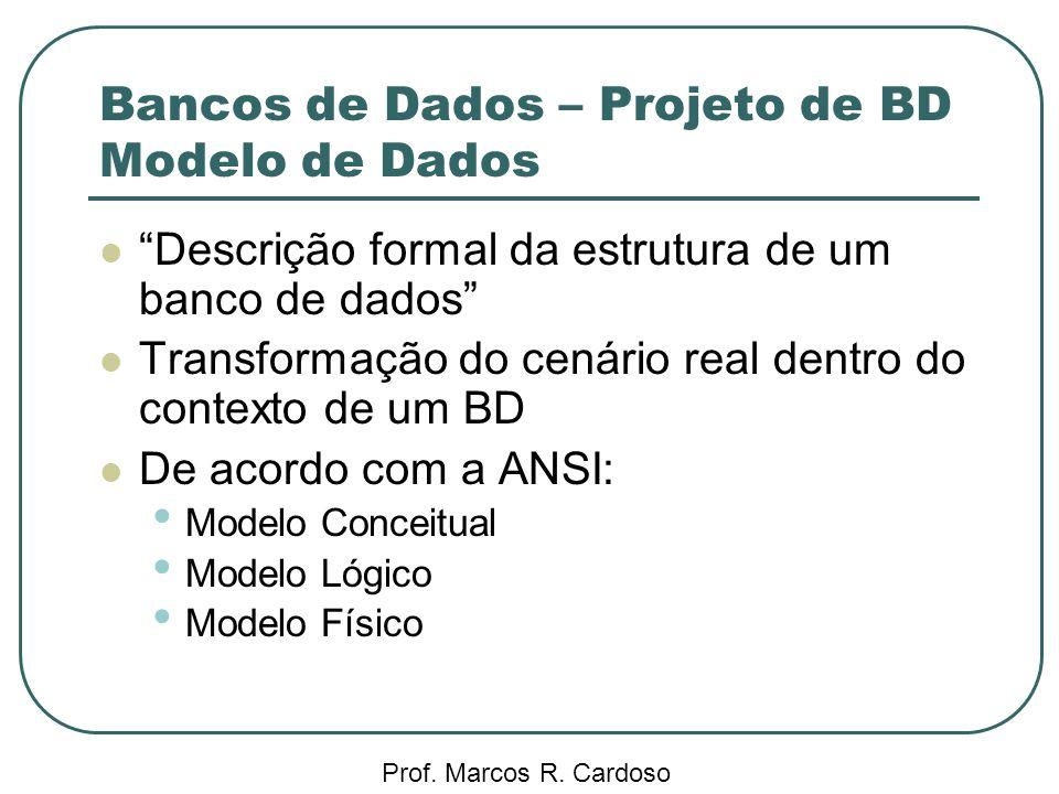 Bancos de Dados – Projeto de BD Modelo de Dados