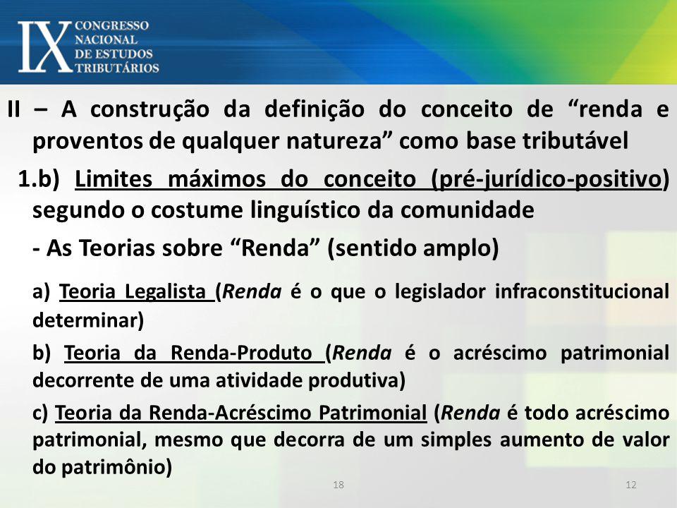 II – A construção da definição do conceito de renda e proventos de qualquer natureza como base tributável