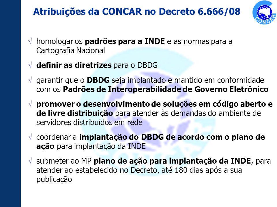 Atribuições da CONCAR no Decreto 6.666/08