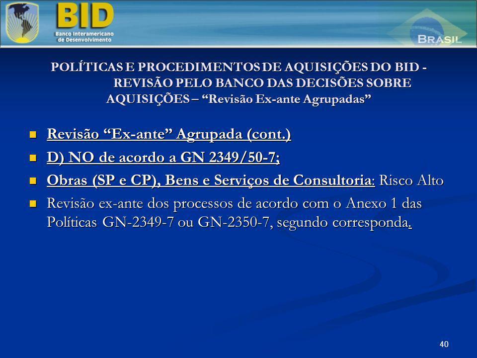 Revisão Ex-ante Agrupada (cont.) D) NO de acordo a GN 2349/50-7;