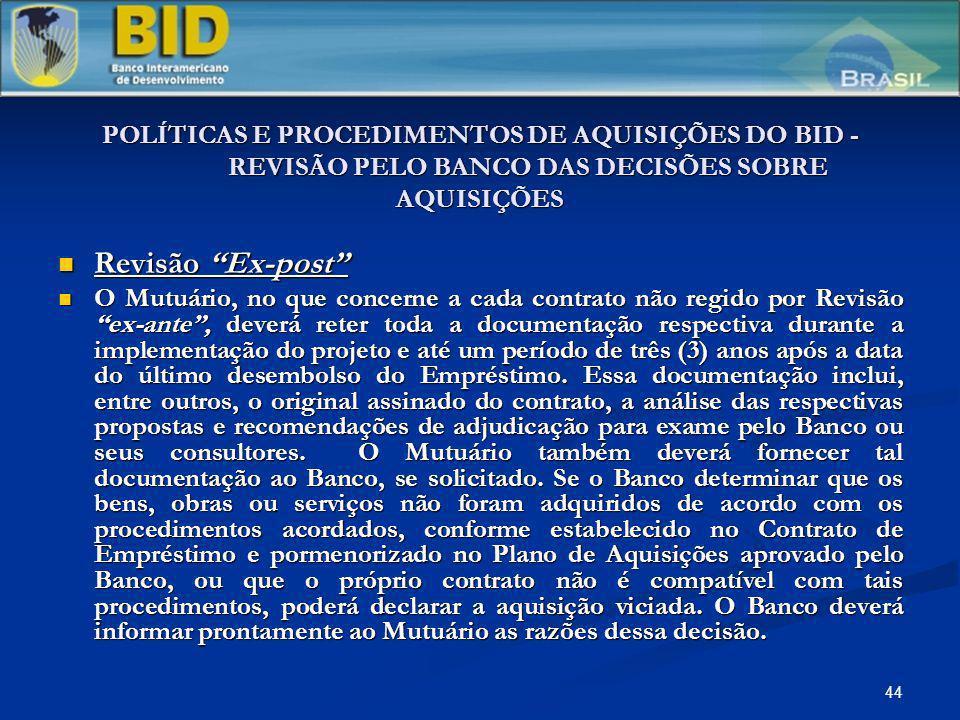 POLÍTICAS E PROCEDIMENTOS DE AQUISIÇÕES DO BID -