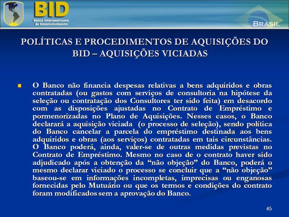 POLÍTICAS E PROCEDIMENTOS DE AQUISIÇÕES DO BID – AQUISIÇÕES VICIADAS