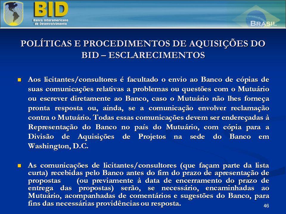 POLÍTICAS E PROCEDIMENTOS DE AQUISIÇÕES DO BID – ESCLARECIMENTOS