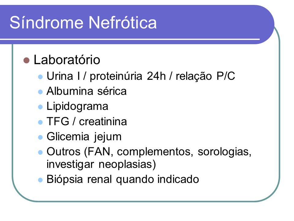 Síndrome Nefrótica Laboratório Urina I / proteinúria 24h / relação P/C