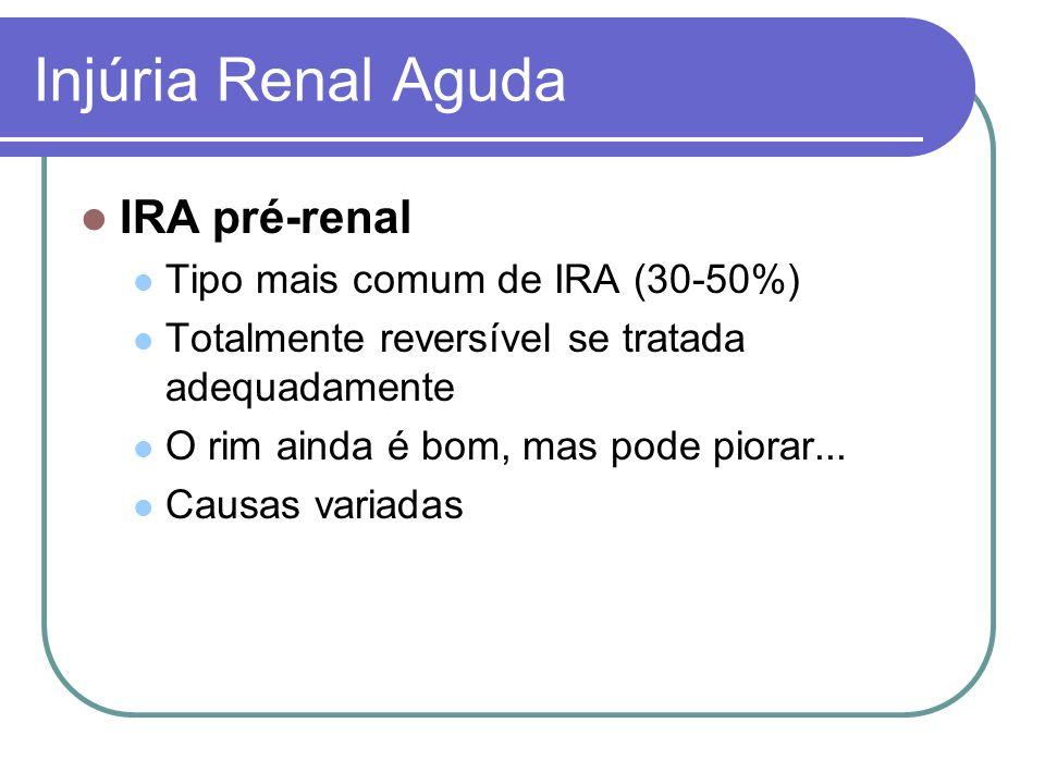Injúria Renal Aguda IRA pré-renal Tipo mais comum de IRA (30-50%)