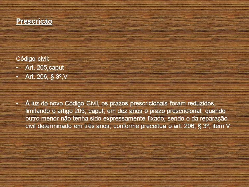 Prescrição Código civil: Art. 205,caput Art. 206, § 3º,V
