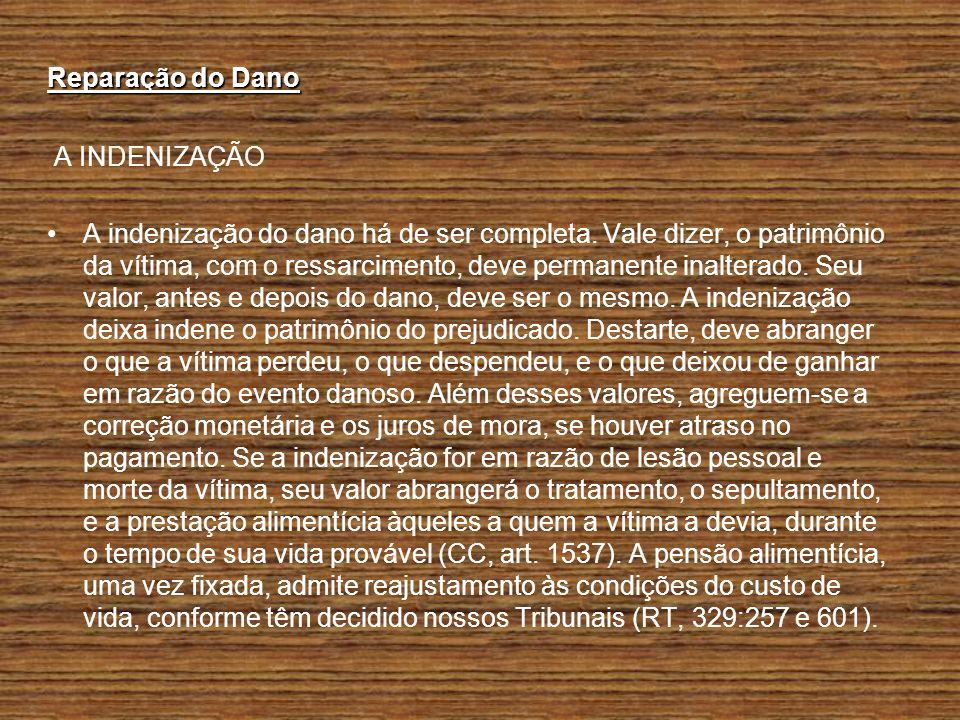 Reparação do Dano A INDENIZAÇÃO.
