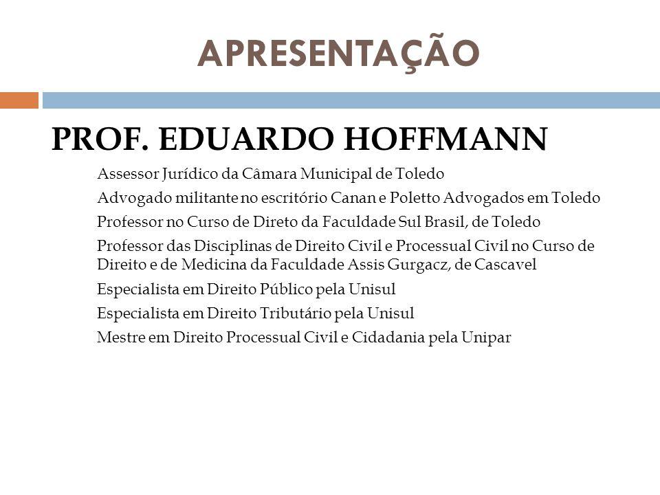 APRESENTAÇÃO PROF. EDUARDO HOFFMANN