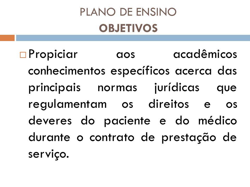 PLANO DE ENSINO OBJETIVOS