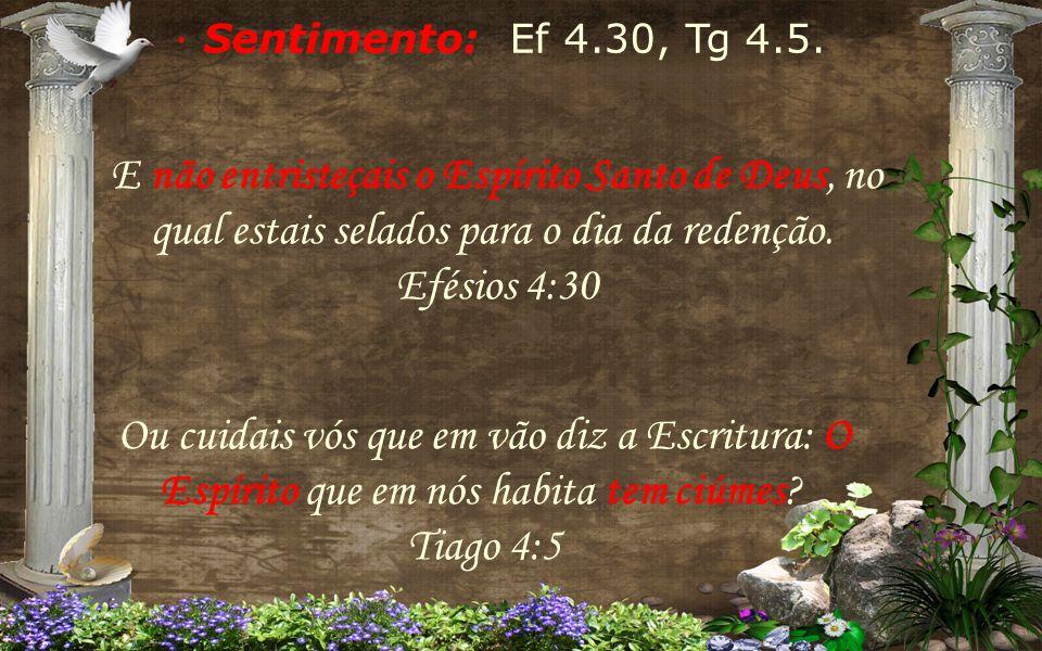 · Sentimento: Ef 4.30, Tg 4.5. E não entristeçais o Espírito Santo de Deus, no qual estais selados para o dia da redenção. Efésios 4:30.