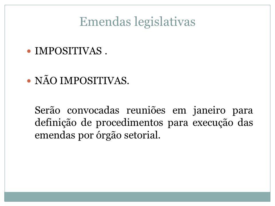 Emendas legislativas IMPOSITIVAS . NÃO IMPOSITIVAS.