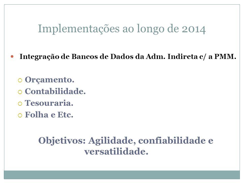 Implementações ao longo de 2014