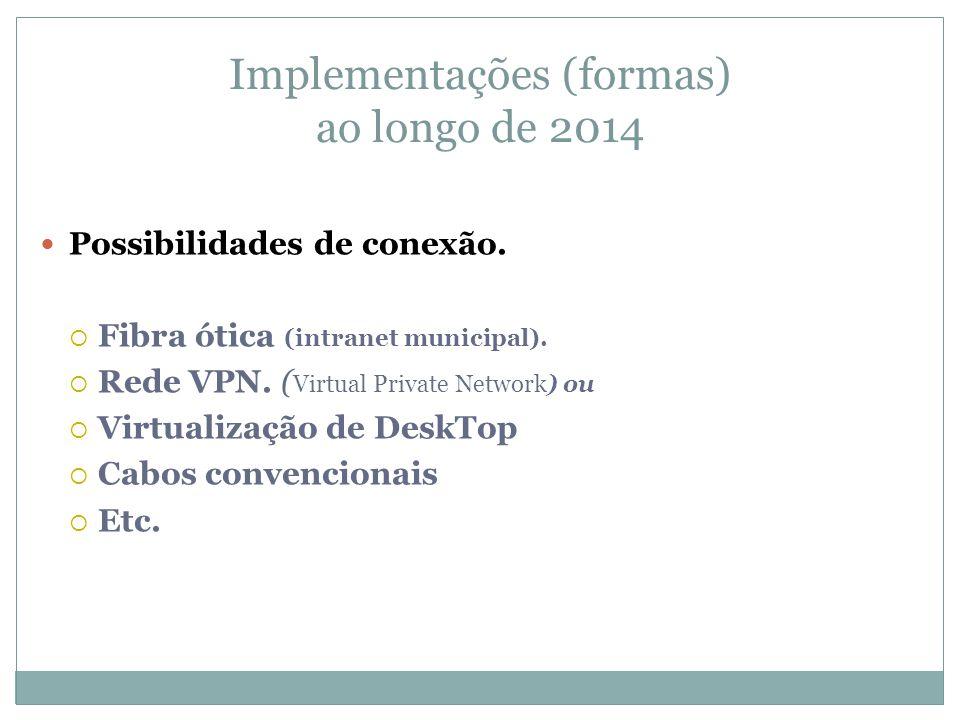 Implementações (formas) ao longo de 2014