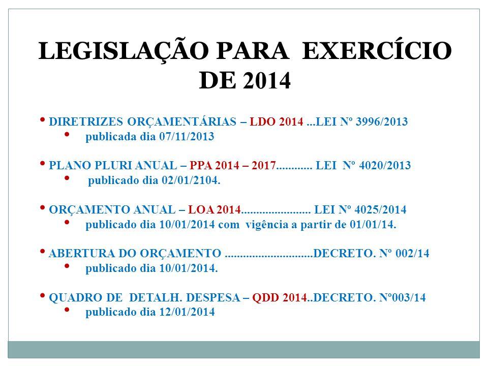 Legislação PARA EXERCÍCIO DE 2014